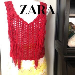 🔥ZARA Fringed Crocheted Top
